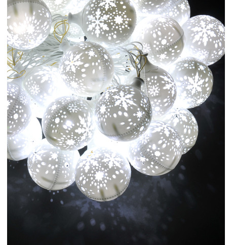 SNOWFLAKE BAUBLE LIGHTS - WHITE White Clear