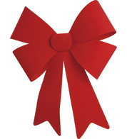 FLOCKED BOWS - RED - Red