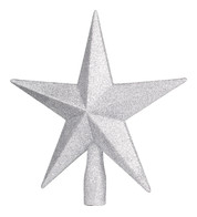 GLITTERED TREE TOPPER - SILVER - Silver