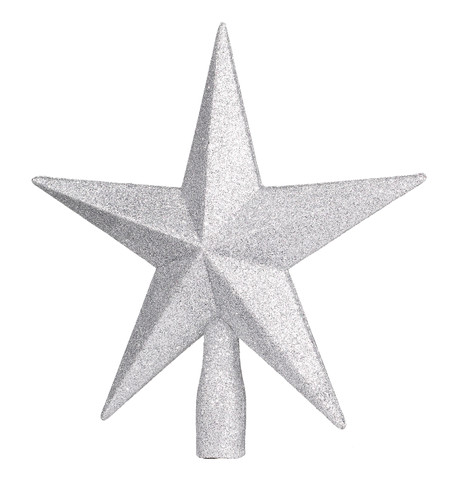 GLITTERED TREE TOPPER - SILVER Silver