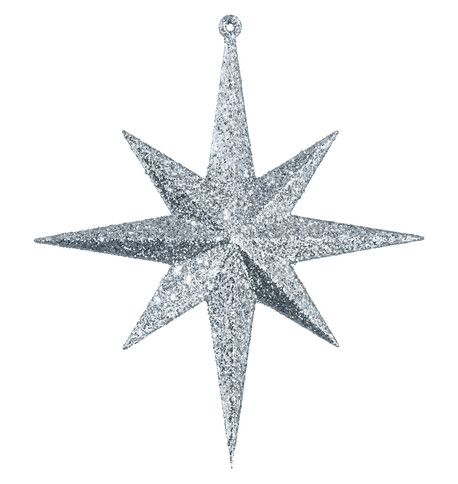 GLITTER STAR 8 POINT - SILVER Silver