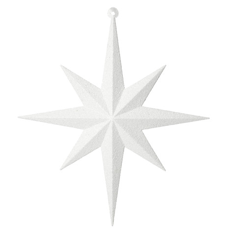 GLITTER STAR 8 POINT - WHITE White
