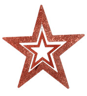 GLITTERED CUT OUT STAR - RED - Red