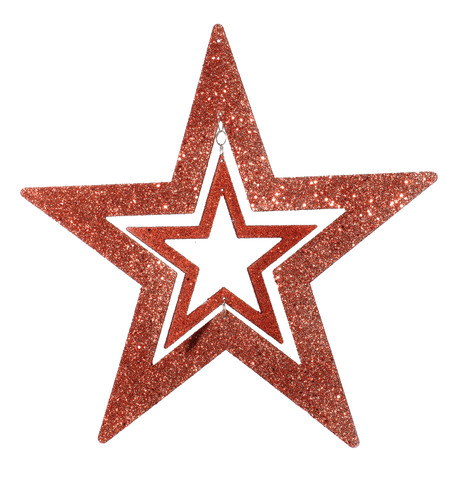 GLITTERED CUT OUT STAR - RED Red