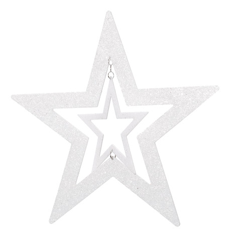 GLITTERED CUT OUT STAR - WHITE White