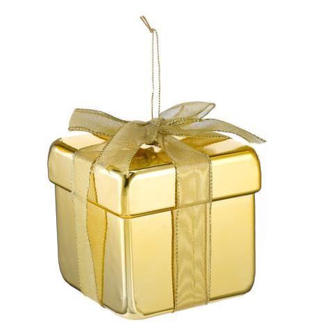 METALLIC GIFT BOX DECORATION - GOLD Gold