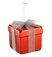 METALLIC GIFT BOX DECORATION - RED - Red
