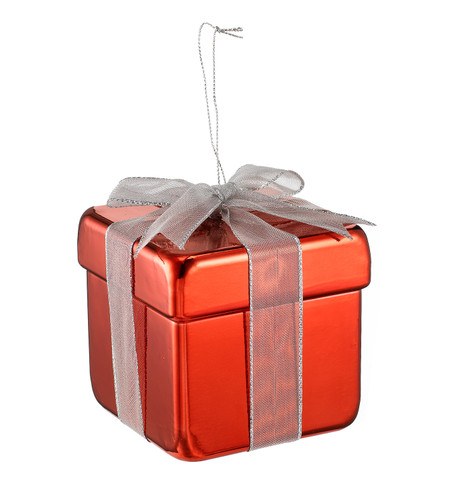 METALLIC GIFT BOX DECORATION - RED Red
