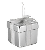 METALLIC GIFT BOX DECORATION - SILVER - Silver