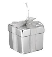 METALLIC GIFT BOX DECORATION - SILVER - Silver
