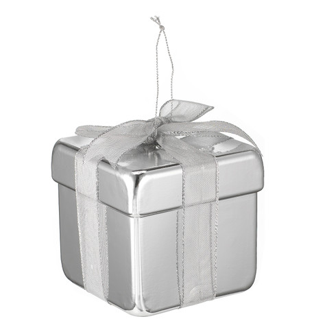 METALLIC GIFT BOX DECORATION - SILVER Silver